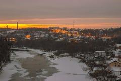Neve no rio com gelo Foto de Stock