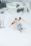 Neve perita do pó do esqui do esquiador em Stowe, Vermont, Imagens de Stock Royalty Free