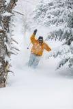 Neve perita do pó do esqui do esquiador em Stowe, Vermont, Foto de Stock Royalty Free