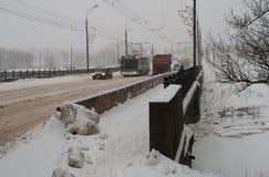 Neve pesante in Russia dell'Europa centrale Fotografia Stock