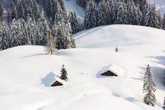 Neve profonda in alpi, Berchtesgaden, Baviera, Germania Immagine Stock Libera da Diritti