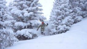 Neve profunda do pó da equitação do Snowboarder no movimento lento Snowboarder que cinzela na neve fresca Equitação extrema do sn filme