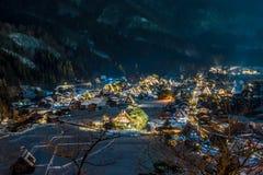 A neve que cai em ilumina acima o festival no inverno, japão Imagens de Stock