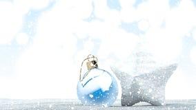 Neve que cai em uma bola e em uma estrela do ornamento do Natal Metragem de Loopable rendição 3d ilustração stock