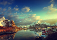 neve in Reine Village, isole di Lofoten fotografia stock