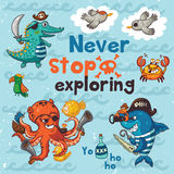 Neve stop exploring. Pirate illustration with crocodile, octopus, shark Royalty Free Stock Photos