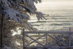 Neve sul portico immagine stock