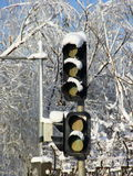 Neve sul semaforo Fotografia Stock