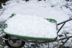 Neve sulla carriola Fotografia Stock