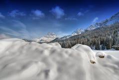 Neve sulle montagne delle dolomia, Italia Fotografia Stock Libera da Diritti