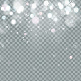 Neve trasparente brillante di caduta di Natale bella isolata su fondo trasparente Fotografia Stock Libera da Diritti