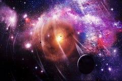 Nevel en melkweg in ruimte Elementen van dit die beeld door NASA wordt geleverd royalty-vrije illustratie