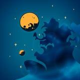 Nevel, planeten en sterren in ruimte, vector stock illustratie