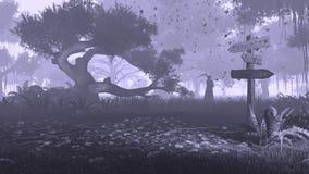 Nevelig bos met onverbiddelijk zwart-wit maaimachinesilhouet stock afbeelding