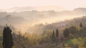 Nevelig ochtendpanorama van de muren van San Gimignano stock video