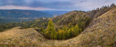 Nevelige de valleiwaaier van Autumn In Royalty-vrije Stock Afbeeldingen