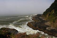 Nevelige en mistige ochtend op de stranden van Boogkaap, de Kust van Oregon royalty-vrije stock afbeelding