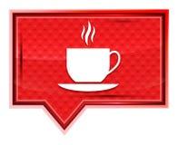 Nevelige het pictogram van de koffiekop nam roze bannerknoop toe vector illustratie