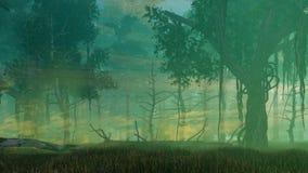 Nevelige schemer in donker geheimzinnig bos royalty-vrije illustratie