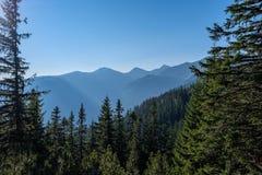 nevelige zonsopgang in Slowaakse Tatra-bergen met lichte stegen in F royalty-vrije stock foto's