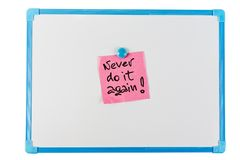 Never do it again - paper reminder. Concept Stock Photo
