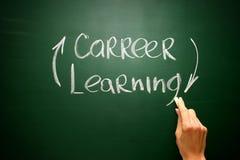 Never ending learning helps build career. Blackboard Stock Photo