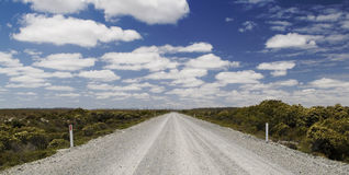 Never Ending Road. Remote gravel road stretches off into the distance under a cloudy blue sky royalty free stock photography