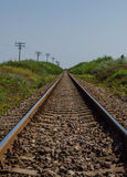 Never ending trip. A railroad that goes to the infinite stock image