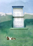 Never Far Afield 2B. Window with lace curtain stands out of place in painted mural of a cow lying in field near mountains Stock Image