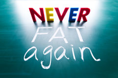 Never fat again concept. Colorful words on blackboard Stock Photos