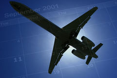 Never Forget. Silhouette of an airliner against its historic date Royalty Free Stock Images
