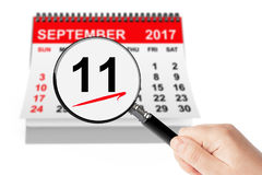 911 Never Forget Concept. 11 September 2017 Calendar with Magnif Stock Image