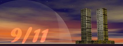 Never forget - 3D render. Twin towers building next to 9/11 by night for remembrance Stock Photos