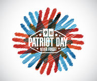Never forget. hands patriot day sign Stock Image