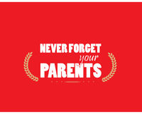 Never forget your parents Royalty Free Stock Photography