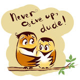 Never give up birds. Friends dude encourage Stock Photo