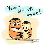 Never give up birds friends dude encourage. Support Royalty Free Stock Photos