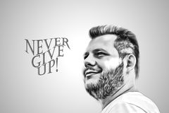 Never give up! black text isolated on grey background. The slogan, the stimulus word.Art illustration of a bearded guy. Royalty Free Stock Image