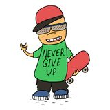 Never give up card. Smiling Teen Making with a Skateboard. Never give up card. Smiling Teen Making with a Skateboard Stock Photo