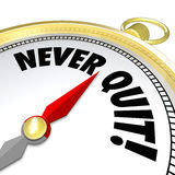 Never Give Up Gold Compass Words Determination Stock Photo