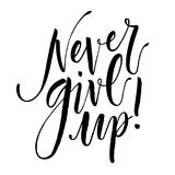 Never Give Up. Hand drawn inspirational quote. Hand written calligraphy, brush painted letters. Vector illustration Stock Image