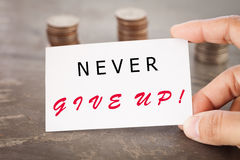 Never give up inspirational quote Stock Image