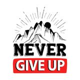 Never give up. Inspiring Motivation Quote, creative quotes creative quotes for posters, cards. Vector illustration Stock Photography