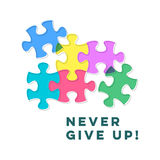Never give up inspiring motivation quote Royalty Free Stock Photo
