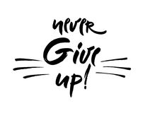 Never give up  lettering illustration. Hand drawn phrase. Handwritten modern brush calligraphy for designe Royalty Free Stock Photography