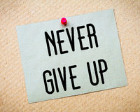Never Give Up Message Royalty Free Stock Photo