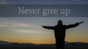 Never Give up motivational concept Royalty Free Stock Photography