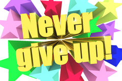 Never Give Up motto. Golden text with vivid stars Royalty Free Stock Images