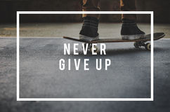 Never Give Up Opportunity Restart Challenge Concept.  Royalty Free Stock Image