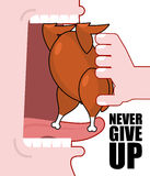 Never give up. Optimistic inspiring poster. Fried chicken and op Royalty Free Stock Photos